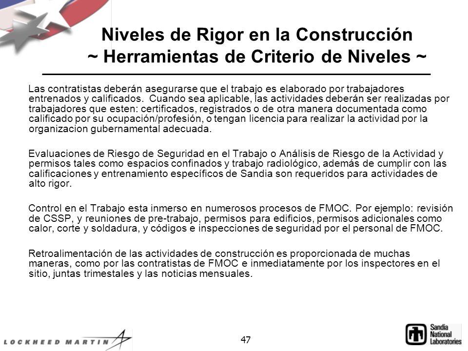 Niveles de Rigor en la Construcción ~ Herramientas de Criterio de Niveles ~