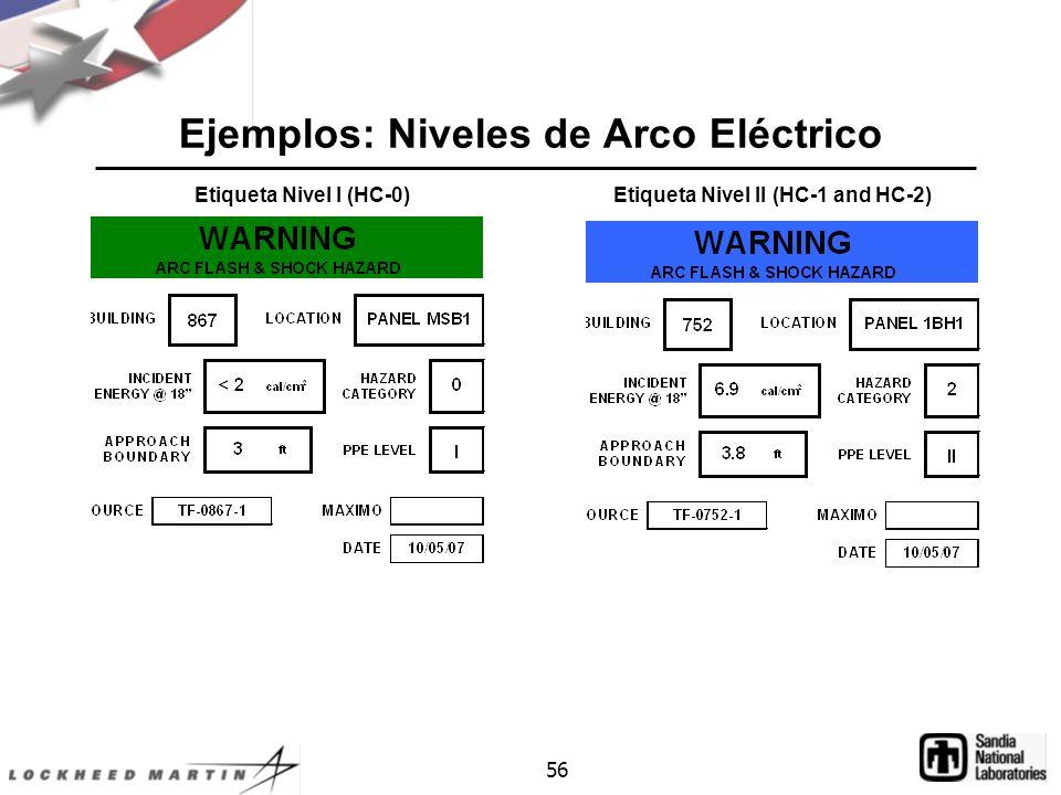 Ejemplos: Niveles de Arco Eléctrico