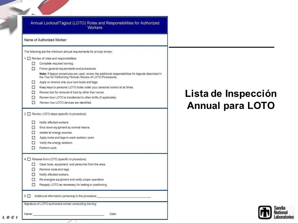 Lista de Inspección Annual para LOTO