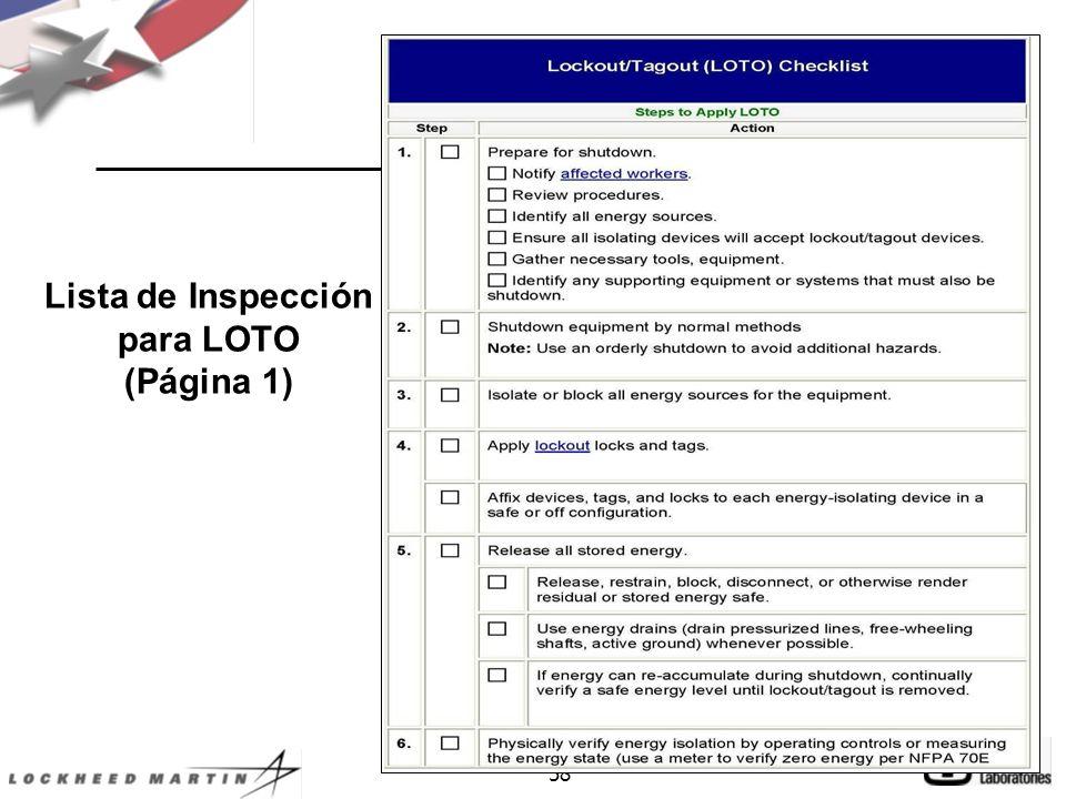 Lista de Inspección para LOTO (Página 1)