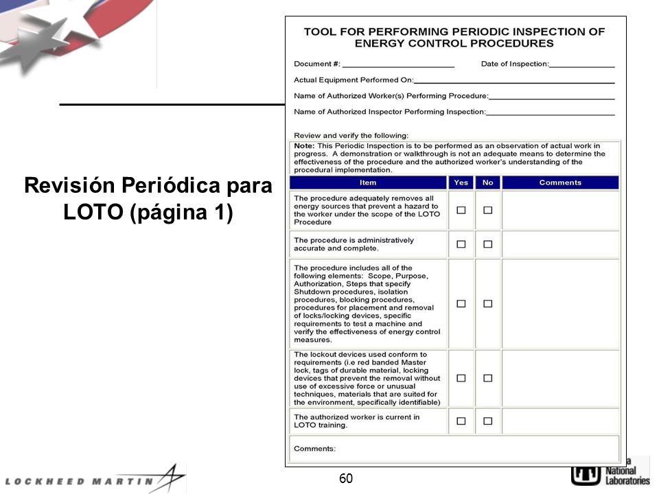 Revisión Periódica para LOTO (página 1)