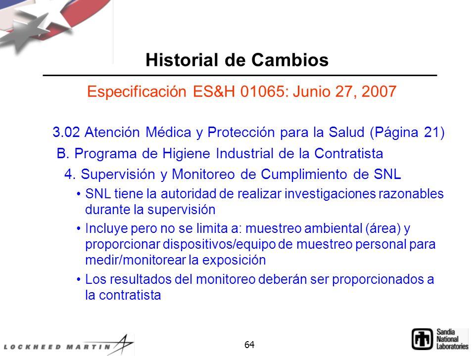 Especificación ES&H 01065: Junio 27, 2007