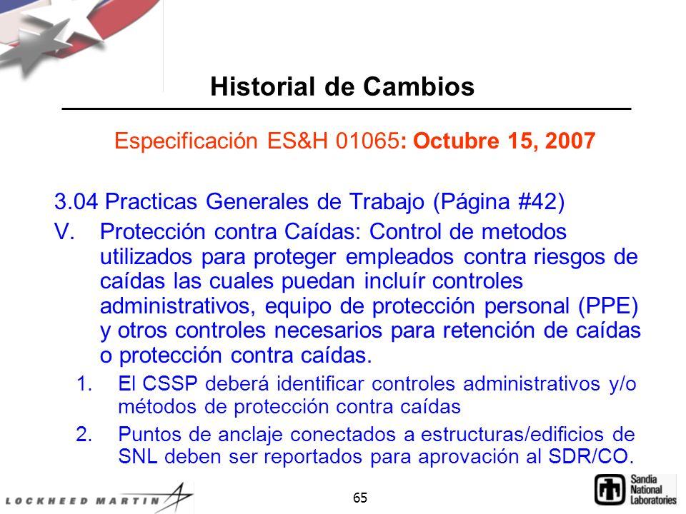 Especificación ES&H 01065: Octubre 15, 2007