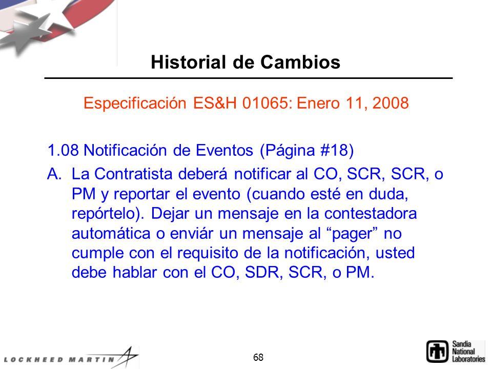 Especificación ES&H 01065: Enero 11, 2008