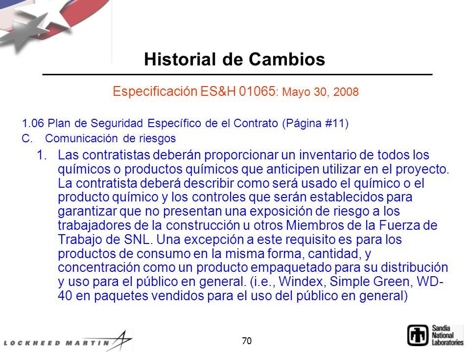Especificación ES&H 01065: Mayo 30, 2008