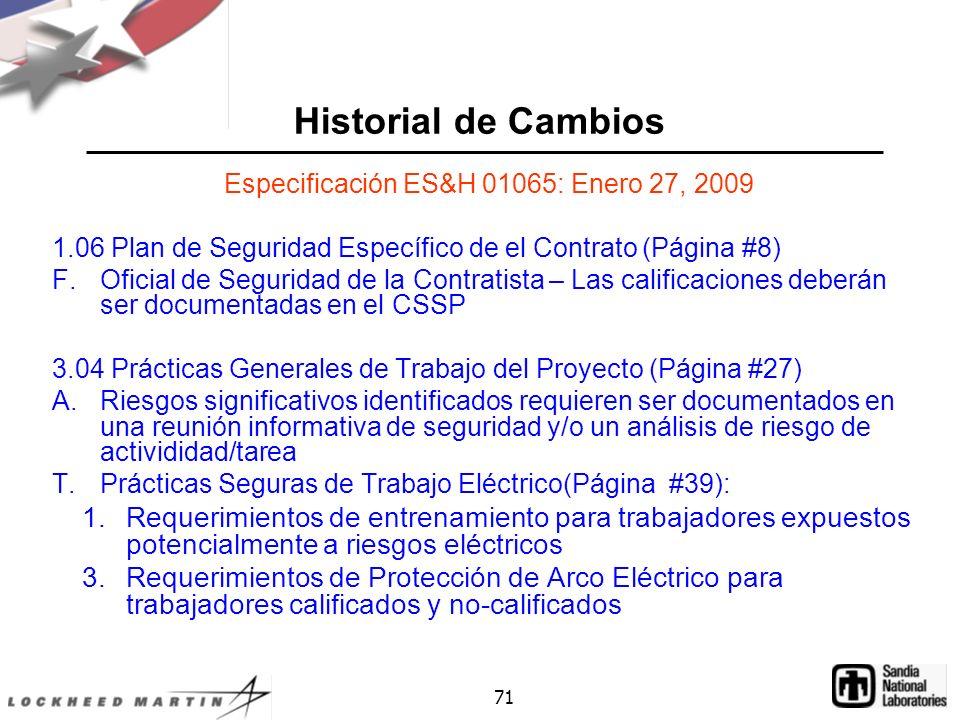 Especificación ES&H 01065: Enero 27, 2009
