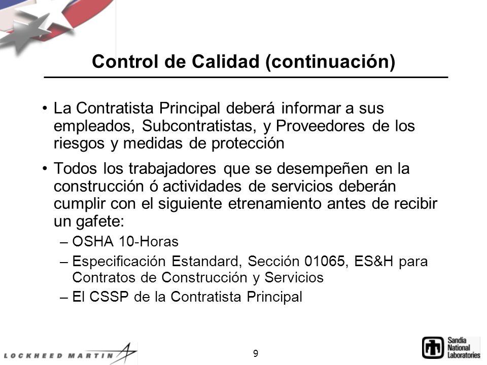 Control de Calidad (continuación)