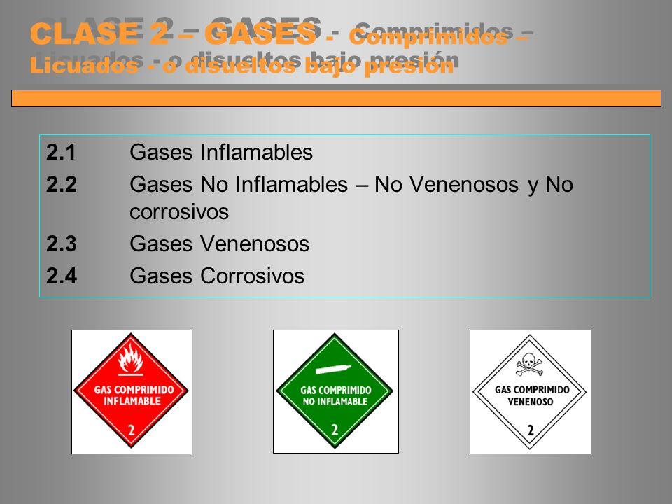 CLASE 2 – GASES - Comprimidos – Licuados - o disueltos bajo presión