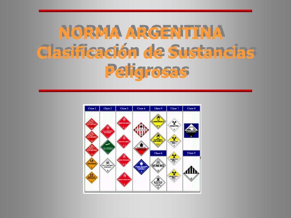 NORMA ARGENTINA Clasificación de Sustancias Peligrosas