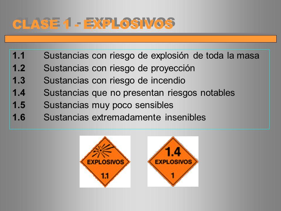 CLASE 1 - EXPLOSIVOS 1.1 Sustancias con riesgo de explosión de toda la masa. 1.2 Sustancias con riesgo de proyección.