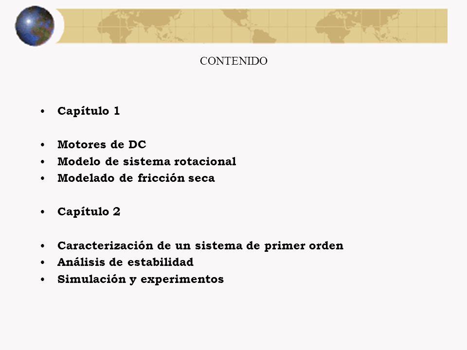 CONTENIDO Capítulo 1. Motores de DC. Modelo de sistema rotacional. Modelado de fricción seca. Capítulo 2.