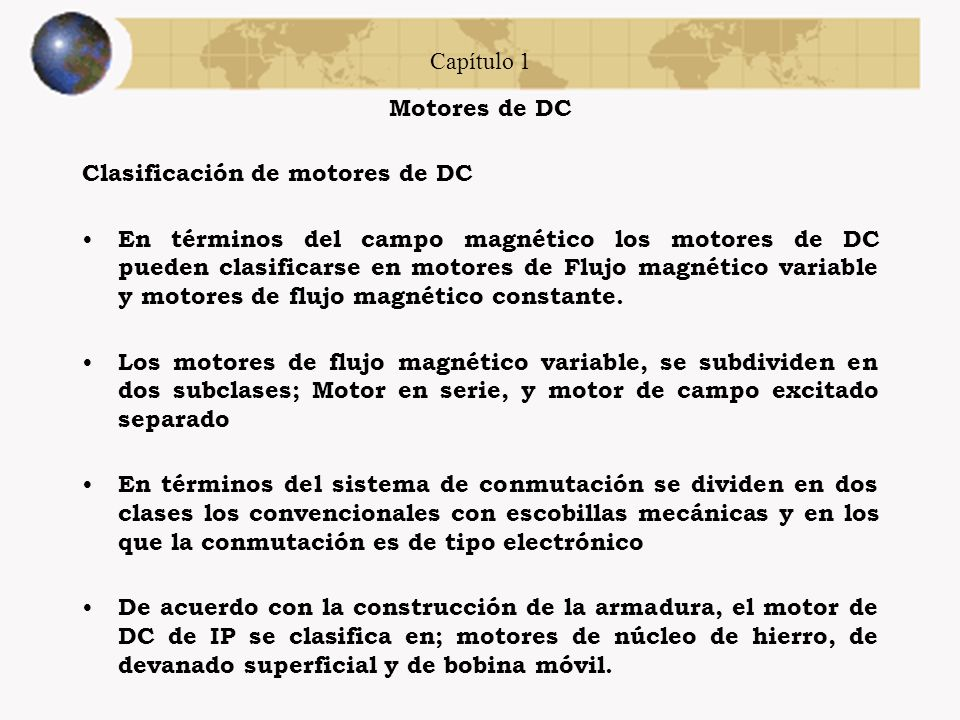 Capítulo 1 Motores de DC. Clasificación de motores de DC.
