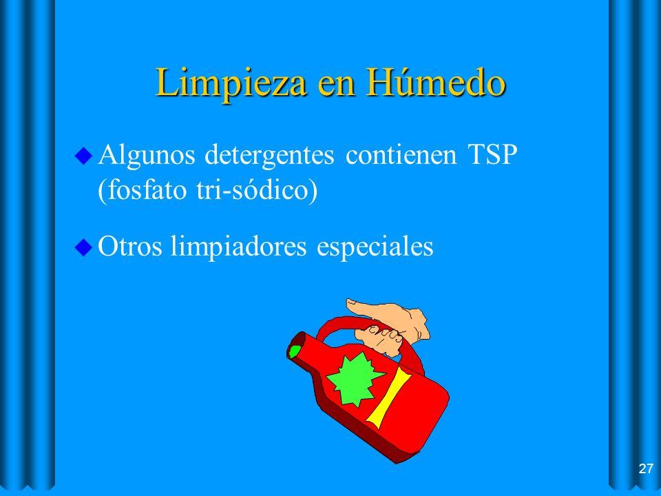 Limpieza en Húmedo Algunos detergentes contienen TSP (fosfato tri-sódico) Otros limpiadores especiales.