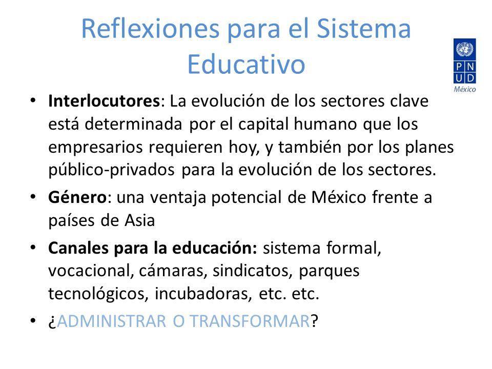 Reflexiones para el Sistema Educativo