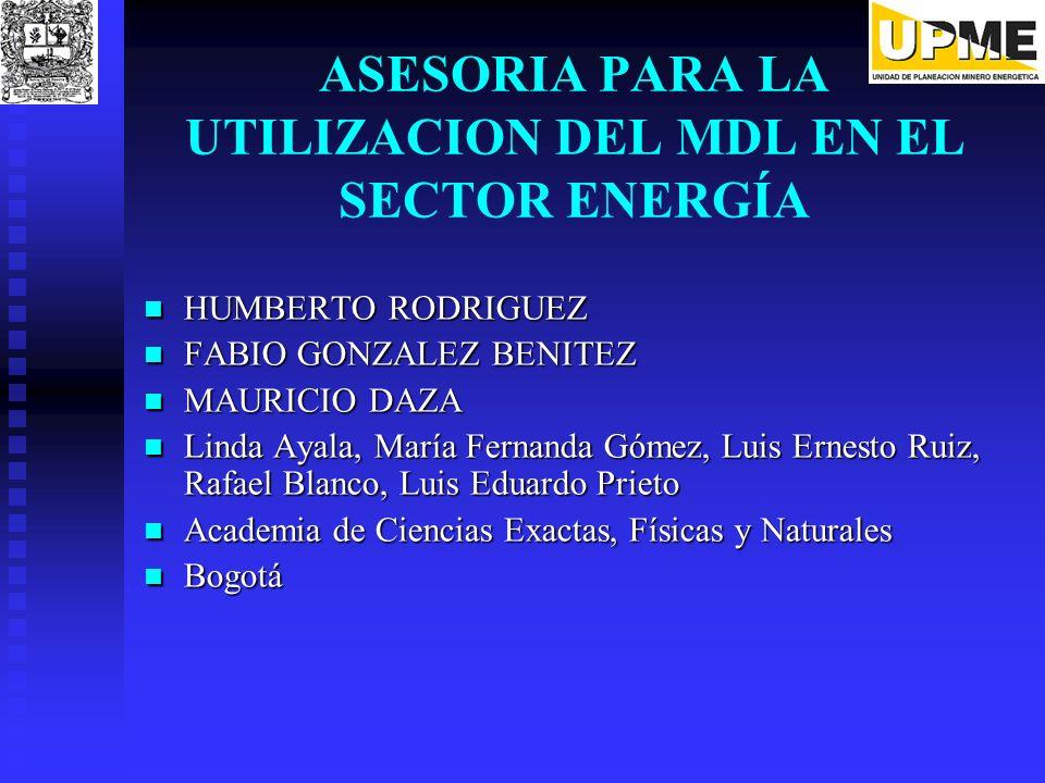 ASESORIA PARA LA UTILIZACION DEL MDL EN EL SECTOR ENERGÍA
