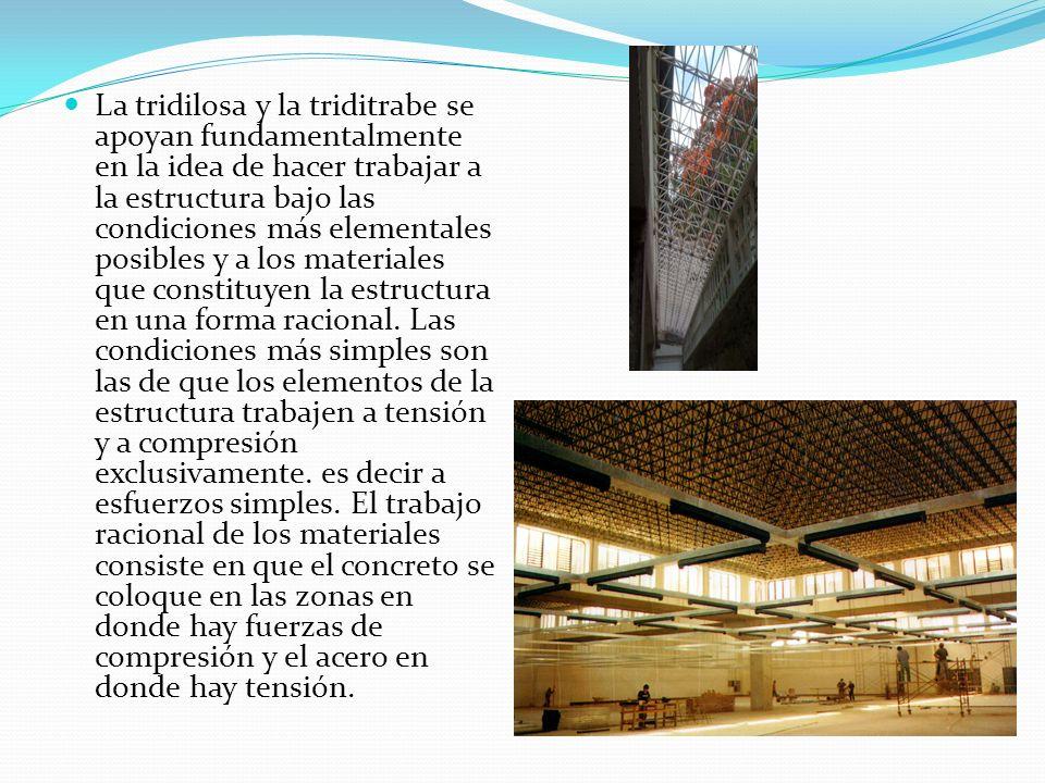 La tridilosa y la triditrabe se apoyan fundamentalmente en la idea de hacer trabajar a la estructura bajo las condiciones más elementales posibles y a los materiales que constituyen la estructura en una forma racional.