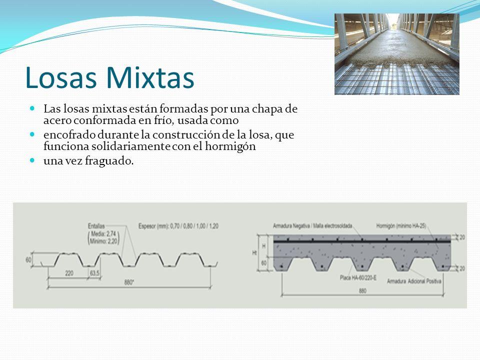 Losas Mixtas Las losas mixtas están formadas por una chapa de acero conformada en frío, usada como.