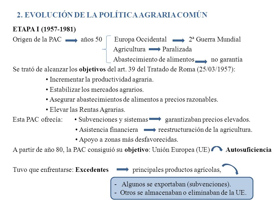 2. EVOLUCIÓN DE LA POLÍTICA AGRARIA COMÚN