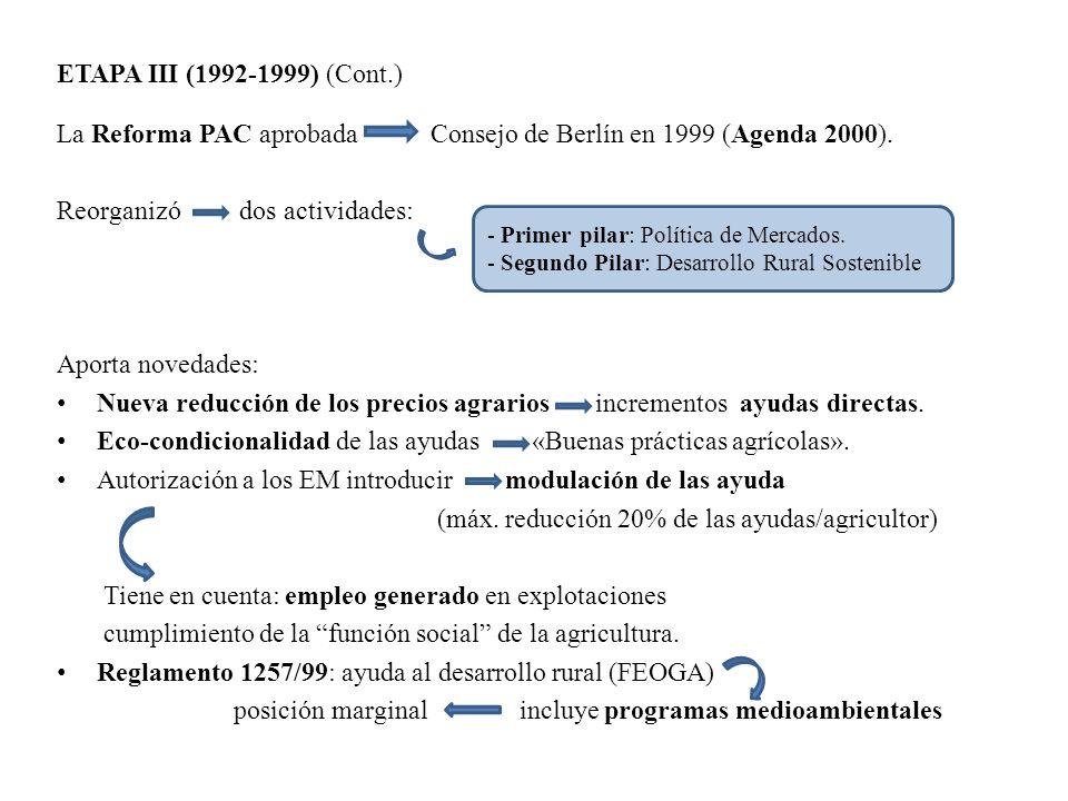 La Reforma PAC aprobada Consejo de Berlín en 1999 (Agenda 2000).