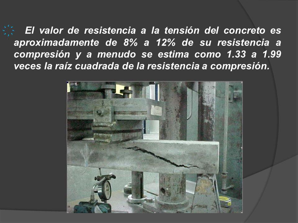 El valor de resistencia a la tensión del concreto es aproximadamente de 8% a 12% de su resistencia a compresión y a menudo se estima como 1.33 a 1.99 veces la raíz cuadrada de la resistencia a compresión.