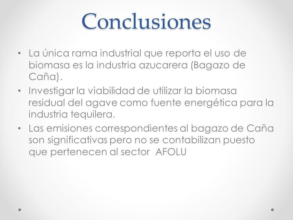 Conclusiones La única rama industrial que reporta el uso de biomasa es la industria azucarera (Bagazo de Caña).