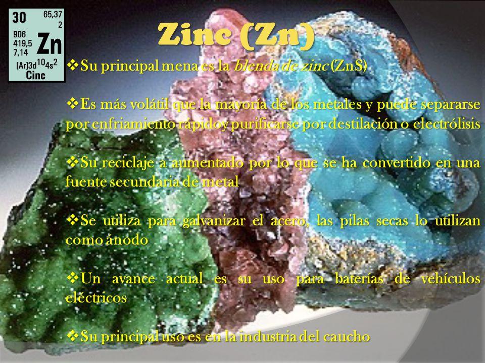 Zinc (Zn) Su principal mena es la blenda de zinc (ZnS)