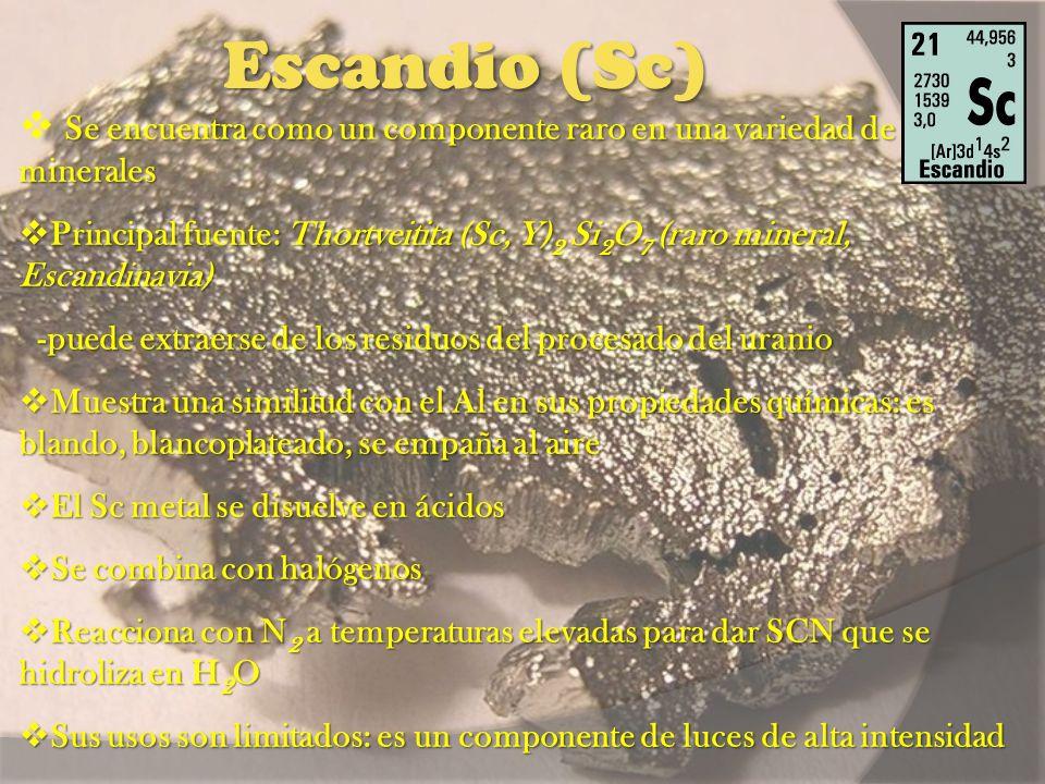 Escandio (Sc) Se encuentra como un componente raro en una variedad de minerales.