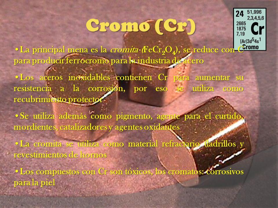 Cromo (Cr) La principal mena es la cromita (FeCr2O4), se reduce con C para producir ferrocromo para la industria de acero.