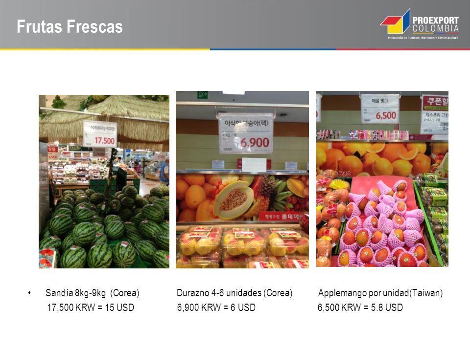 Frutas Frescas Sandía 8kg-9kg (Corea) Durazno 4-6 unidades (Corea) Applemango por unidad(Taiwan)