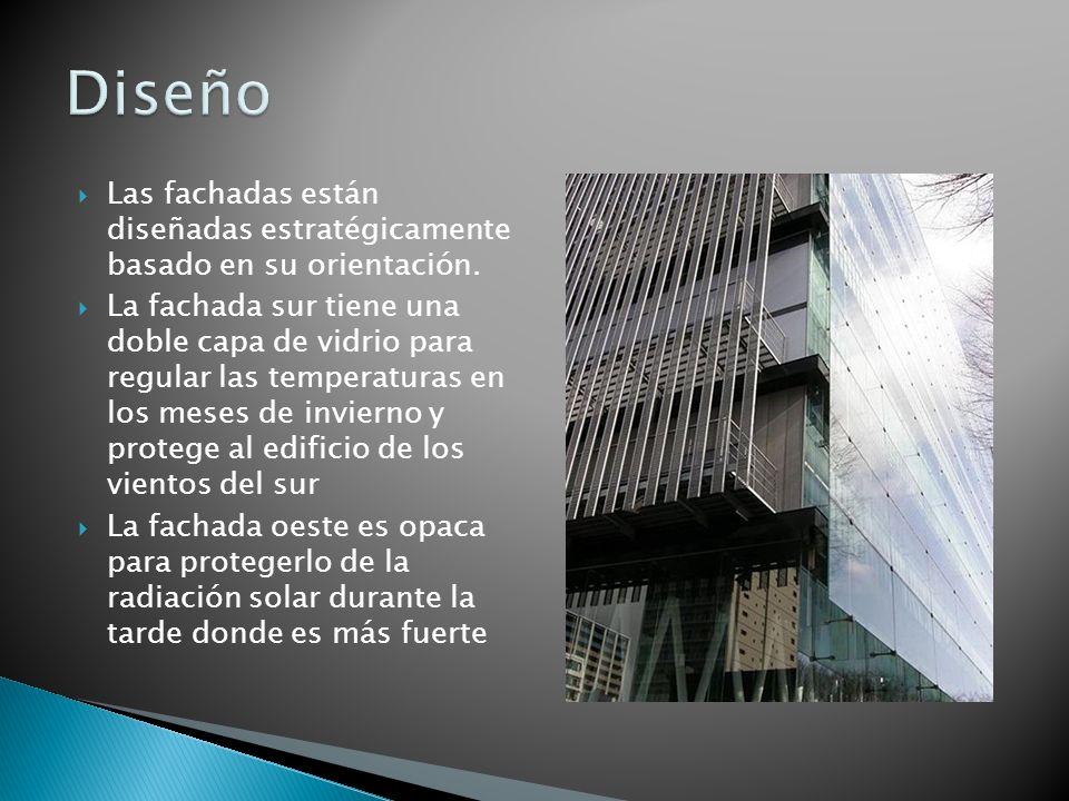 Diseño Las fachadas están diseñadas estratégicamente basado en su orientación.