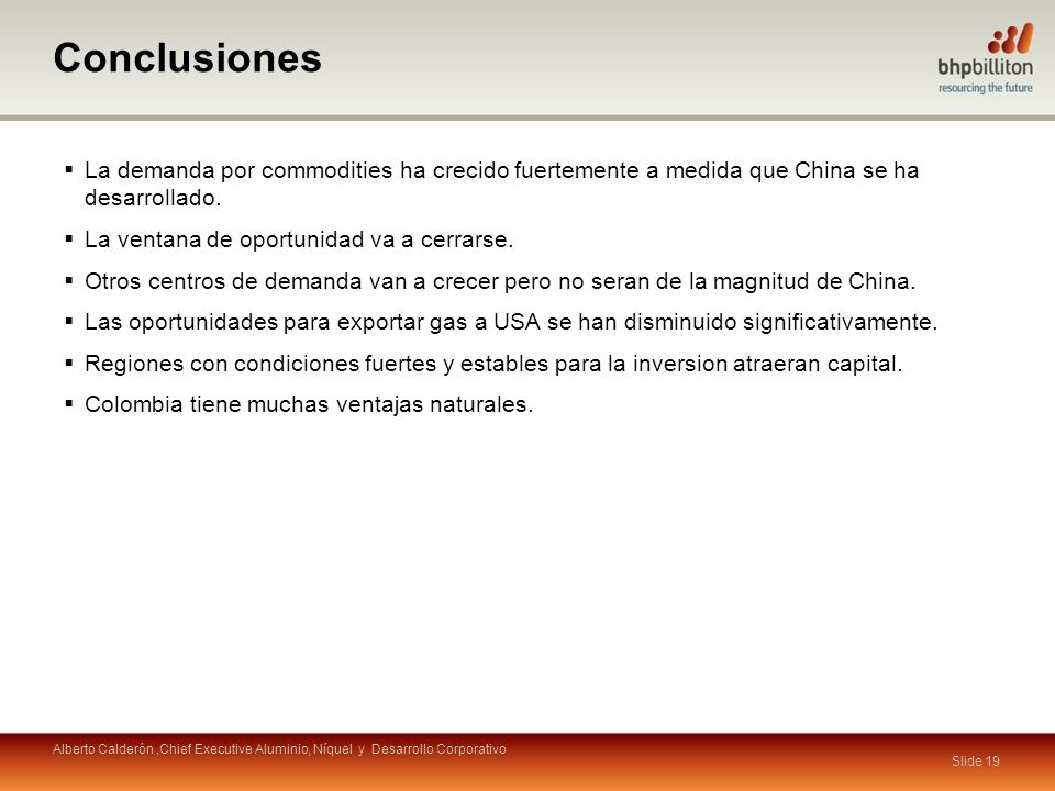 Conclusiones La demanda por commodities ha crecido fuertemente a medida que China se ha desarrollado.