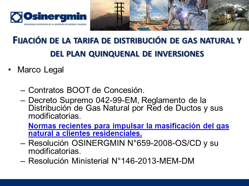 Fijación de la tarifa de distribución de gas natural y del plan quinquenal de inversiones