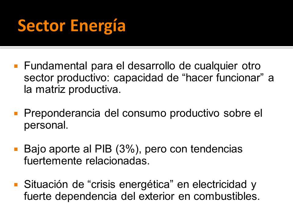 Sector Energía Fundamental para el desarrollo de cualquier otro sector productivo: capacidad de hacer funcionar a la matriz productiva.