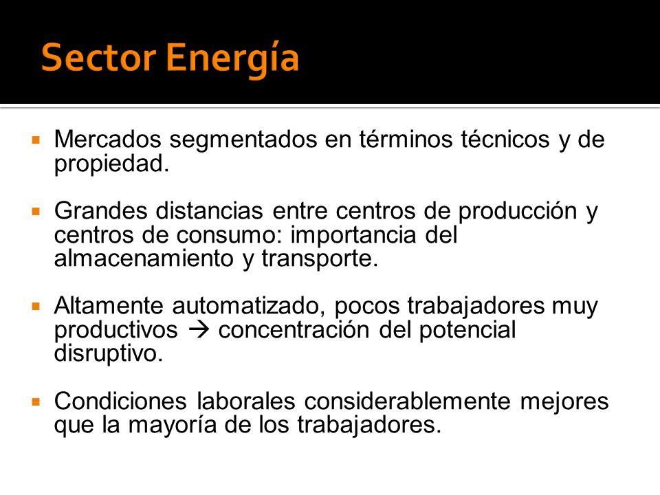 Sector Energía Mercados segmentados en términos técnicos y de propiedad.