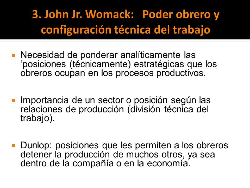 3. John Jr. Womack: Poder obrero y configuración técnica del trabajo