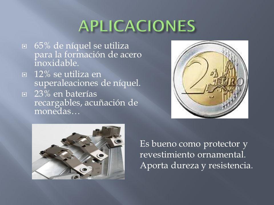APLICACIONES 65% de níquel se utiliza para la formación de acero inoxidable. 12% se utiliza en superaleaciones de níquel.