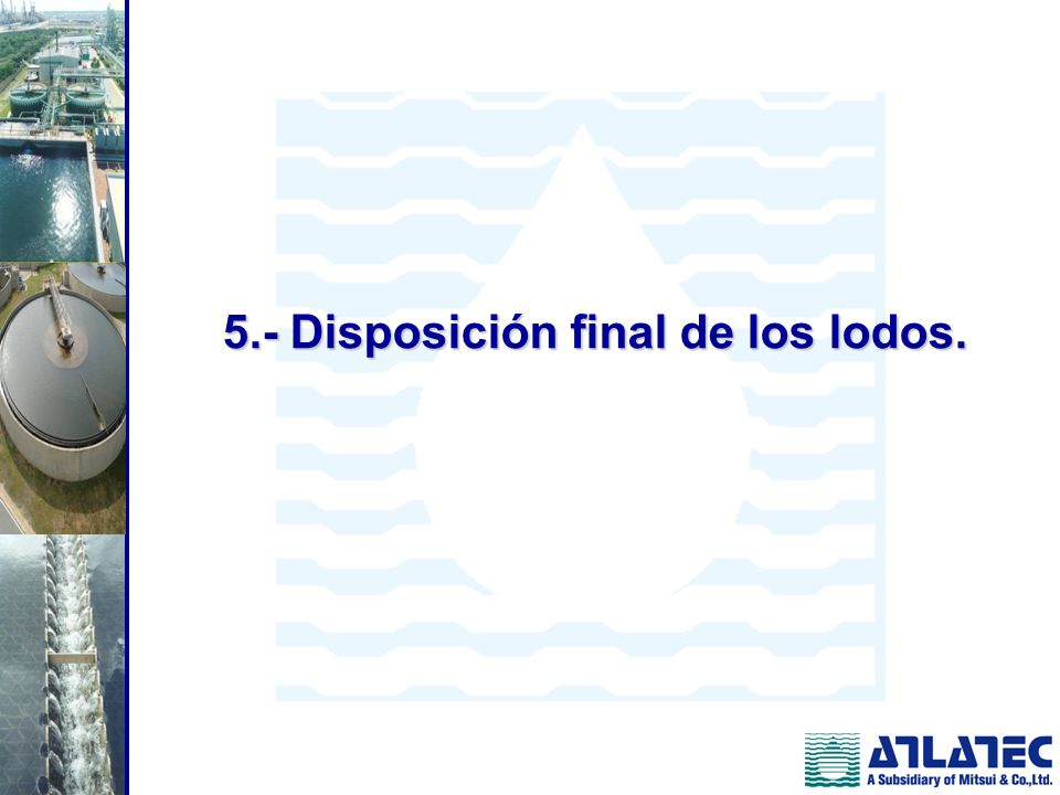 5.- Disposición final de los lodos.