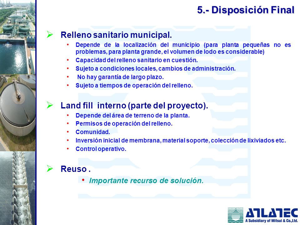 5.- Disposición Final Relleno sanitario municipal.