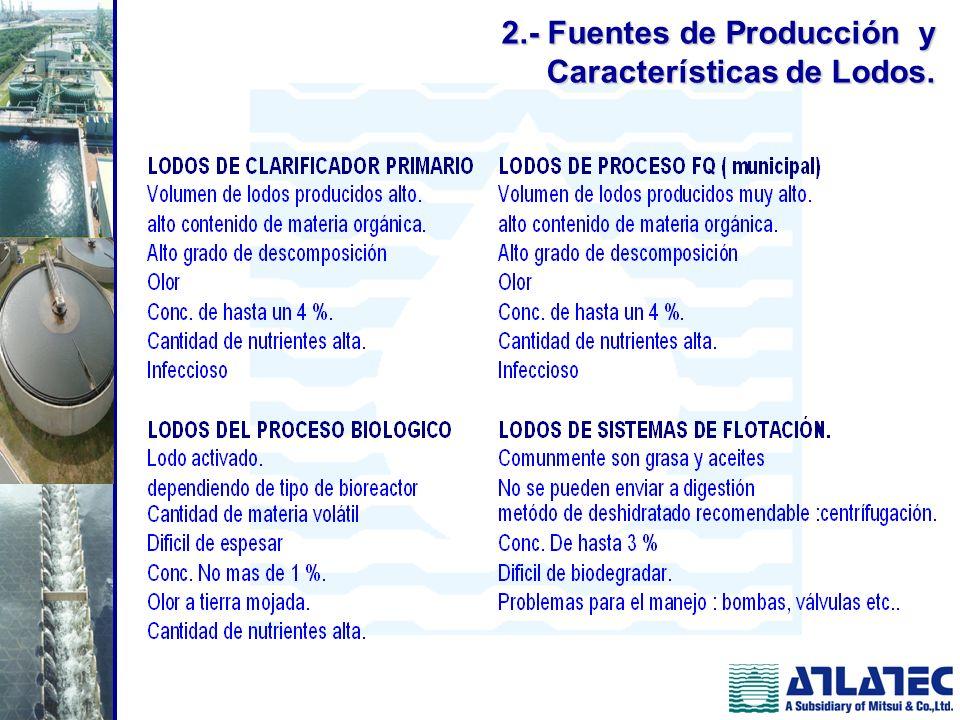 2.- Fuentes de Producción y Características de Lodos.