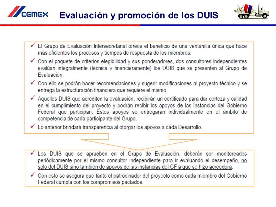 Evaluación y promoción de los DUIS