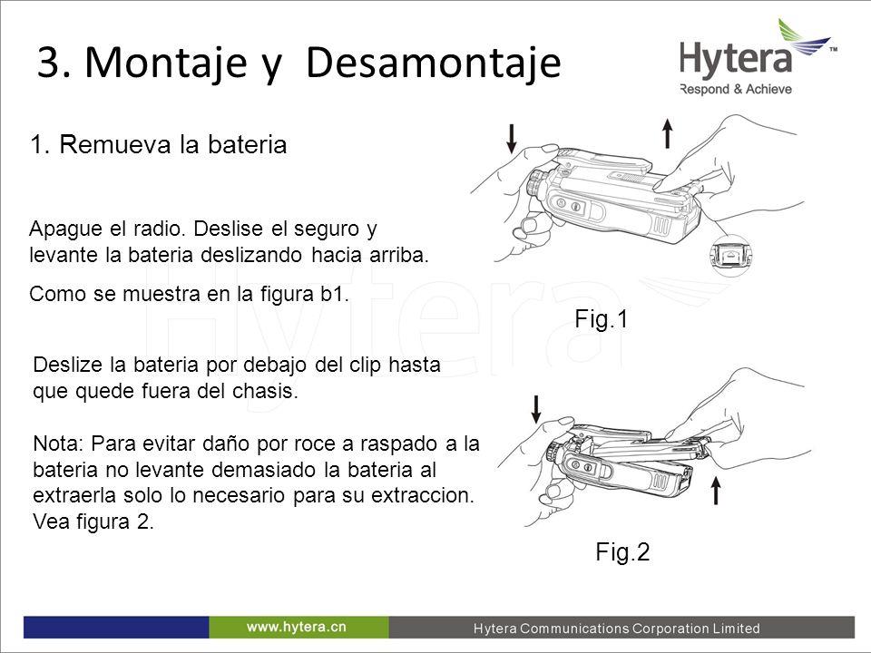 3. Montaje y Desamontaje 1. Remueva la bateria Fig.1 Fig.2