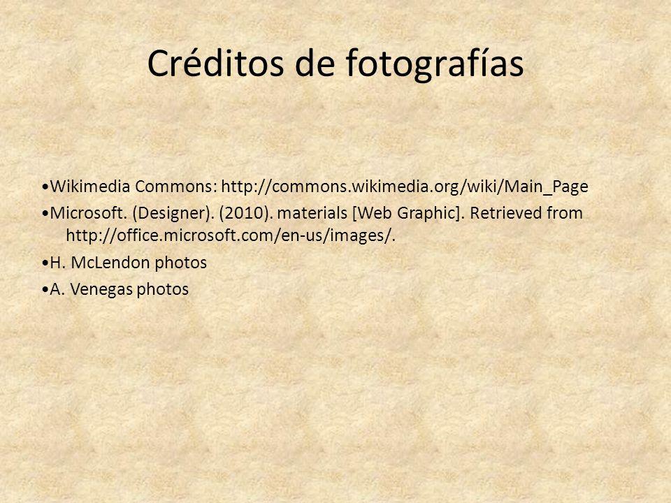 Créditos de fotografías