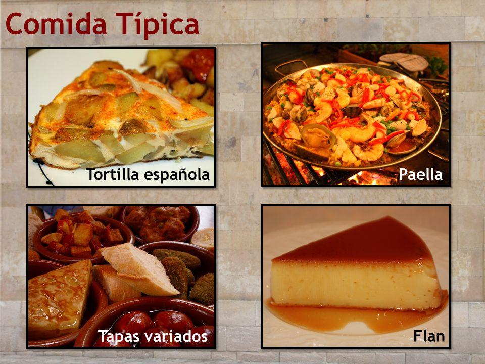 Comida Típica Tortilla española Paella Tapas variados Flan