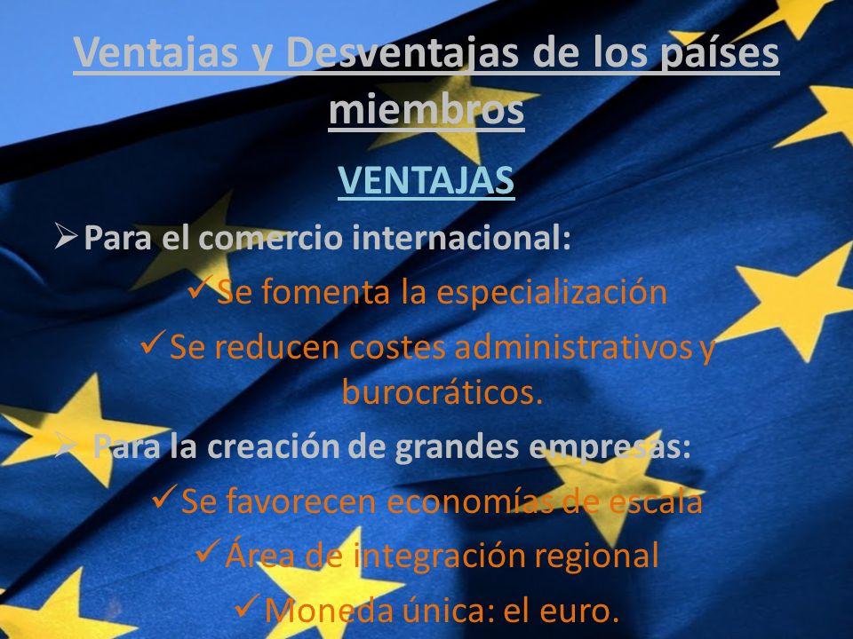 Ventajas y Desventajas de los países miembros