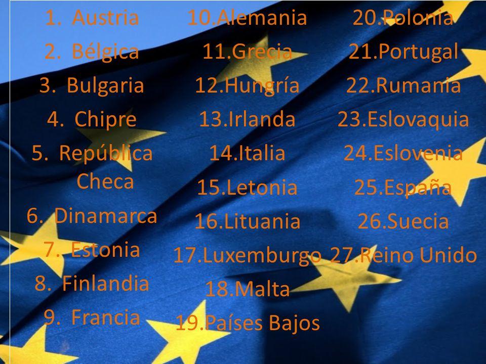Austria Alemania. Polonia. Bélgica. Grecia. Portugal. Bulgaria. Hungría. Rumania. Chipre. Irlanda.