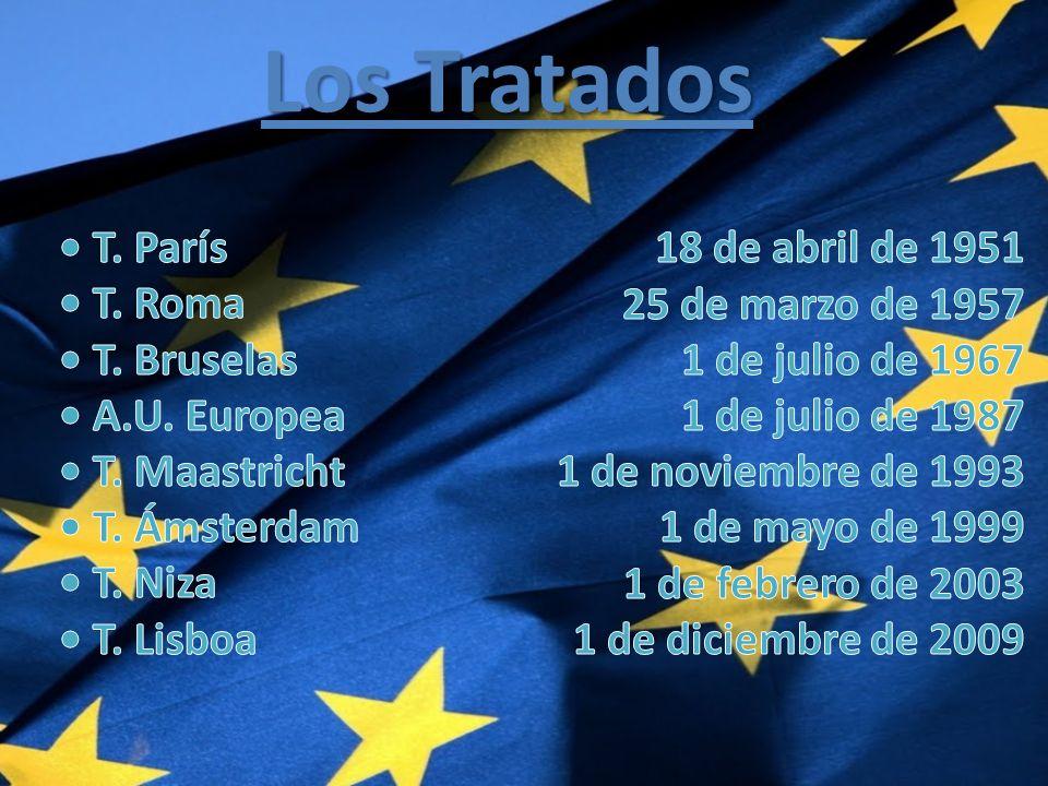 Los Tratados • T. París • T. Roma • T. Bruselas • A.U. Europea • T. Maastricht • T. Ámsterdam • T. Niza • T. Lisboa.
