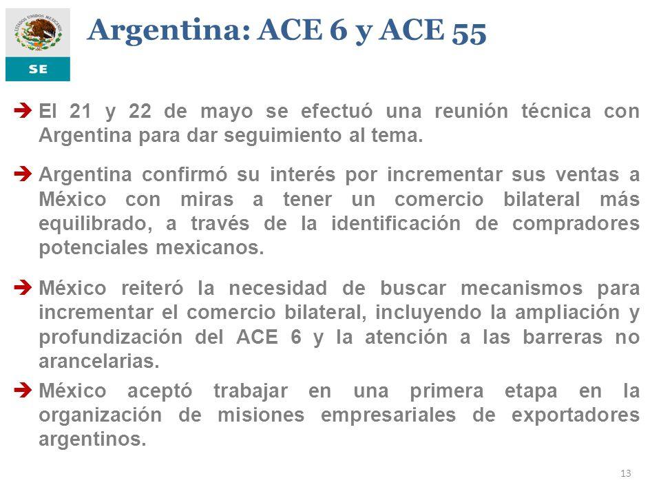 Argentina: ACE 6 y ACE 55 El 21 y 22 de mayo se efectuó una reunión técnica con Argentina para dar seguimiento al tema.