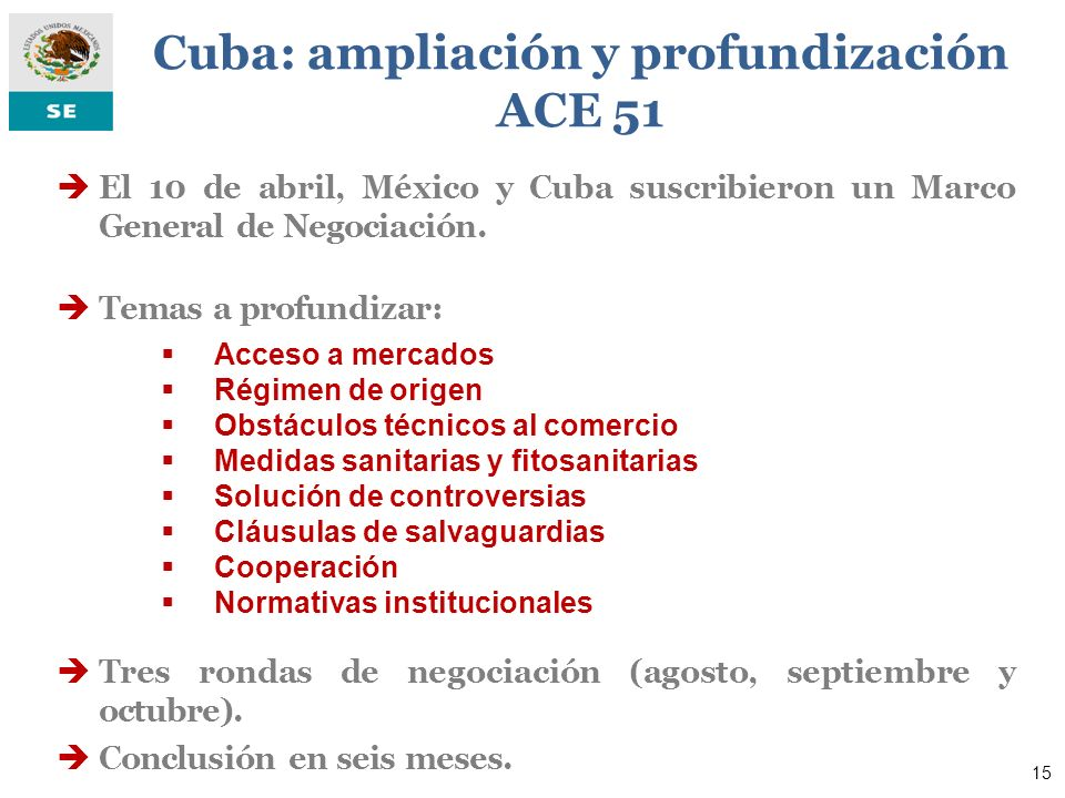 Cuba: ampliación y profundización ACE 51