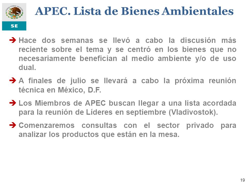APEC. Lista de Bienes Ambientales