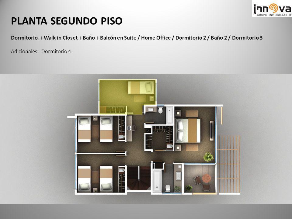 PLANTA SEGUNDO PISO Dormitorio + Walk in Closet + Baño + Balcón en Suite / Home Office / Dormitorio 2 / Baño 2 / Dormitorio 3.